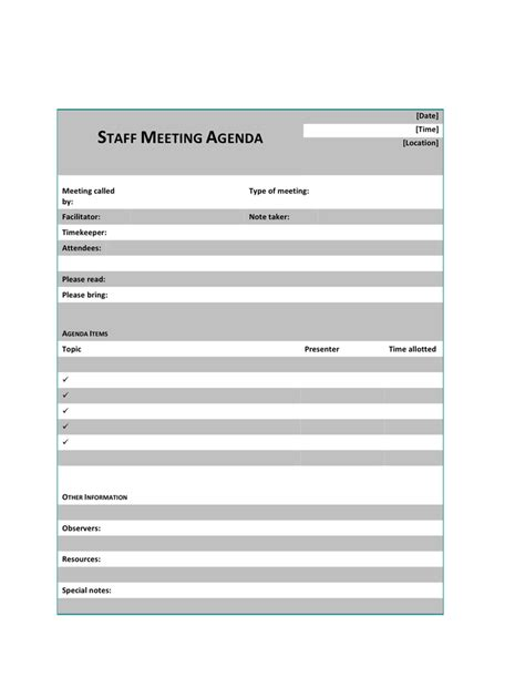 staff meeting agenda staff meeting agenda template free documents