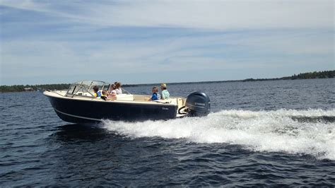 show port side of boat rossiter boats debuts new r23 outboard powered day boat at