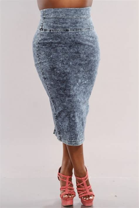 high waisted acid wash denim skirt free shipping 183 fly