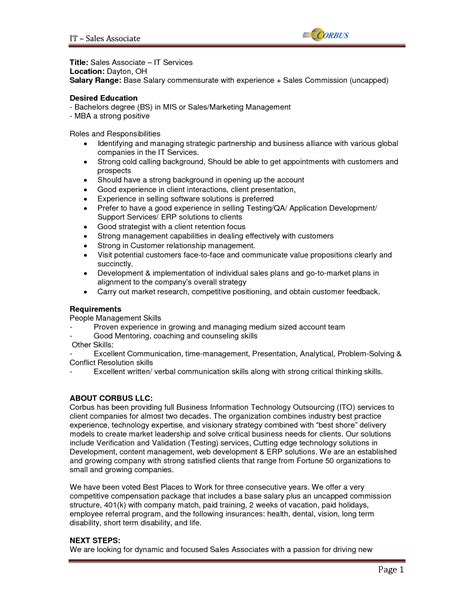 Resume Exles For Descriptions Sales Associate Description Objective