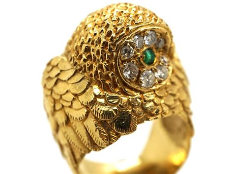 Owl Gold 18ct gold owl ring set with emeralds diamonds the