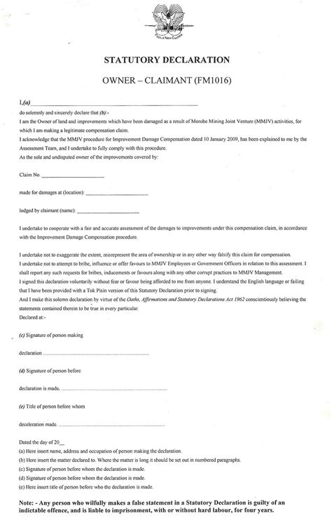statutory declaration template statutory declaration sle forms pictures