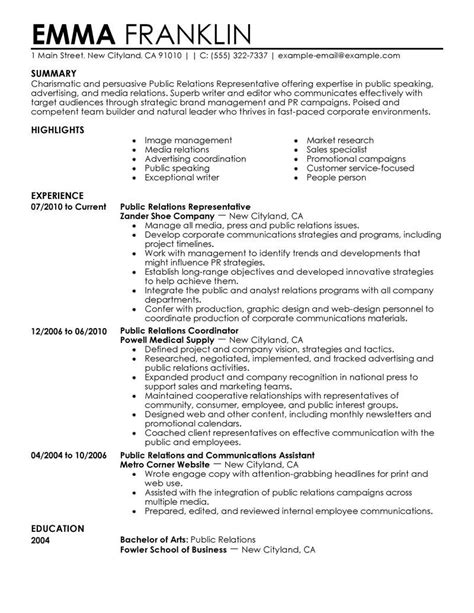 public relations resume template http topresume info
