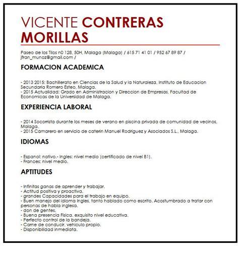 Modelo Curriculum Joven Experiencia modelo de cv para trabajadores de de 50 anos muestra
