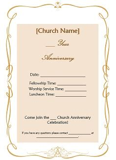 church invitation templates free church anniversary ideas