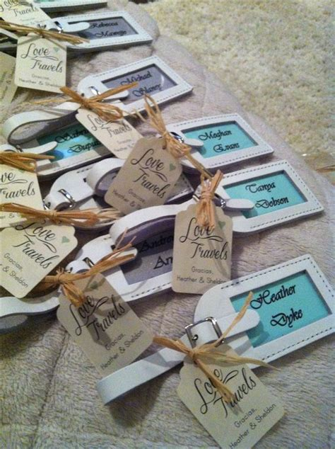 Wedding Tokens Giveaways - destination wedding favors and place settings mint green and silver white leather