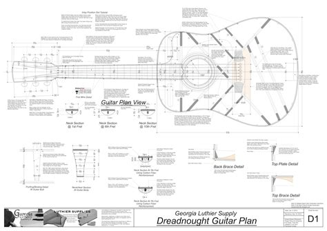 Make Your Own Blueprint Online dreadnought guitar plans electronic version dreadnought