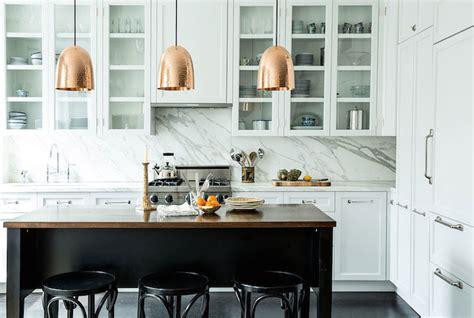stanley copper pendants transitional kitchen lonny