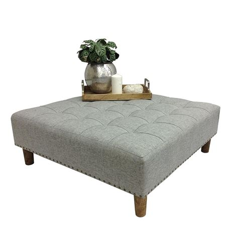 square upholstered ottoman coffee table upholstered coffee table square ottoman oli grey studs