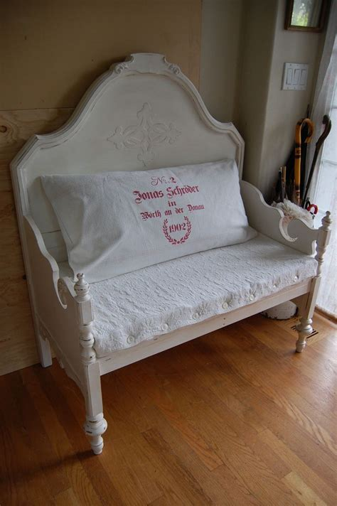 bench made from bed headboard and footboard bed