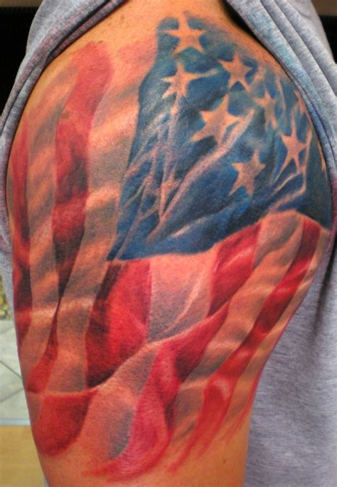 usa tattoos shoulder 3 american flag draped shoulder
