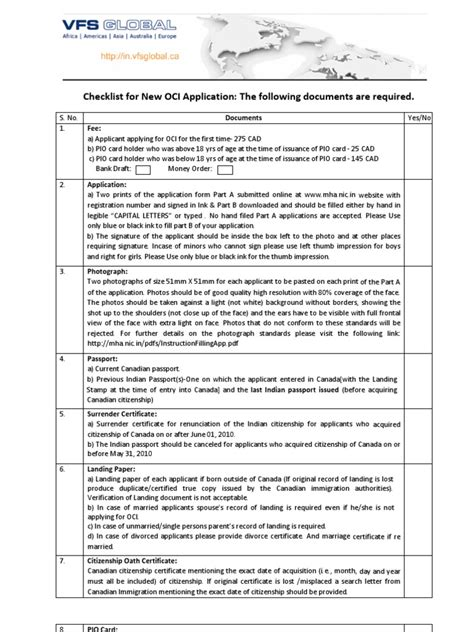 Oci Application Documents Uk