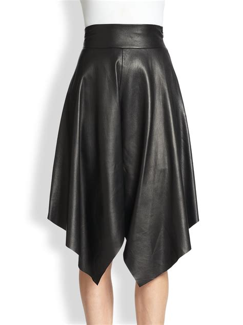 robert rodriguez leather handkerchief skirt in black lyst