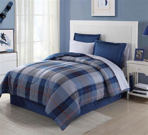 essential home  piece complete bed set blue plaid
