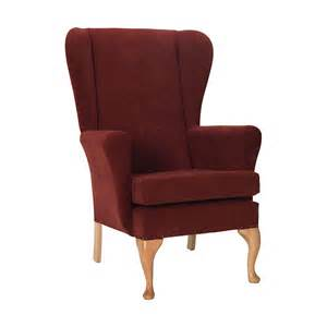 Queen Anne Dining Room Leckford Wing Chair In Waterproof Wine Fabric 5 Year Warranty