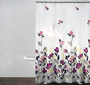 Curtain purple pink gray yellow floral watercolor fields multi