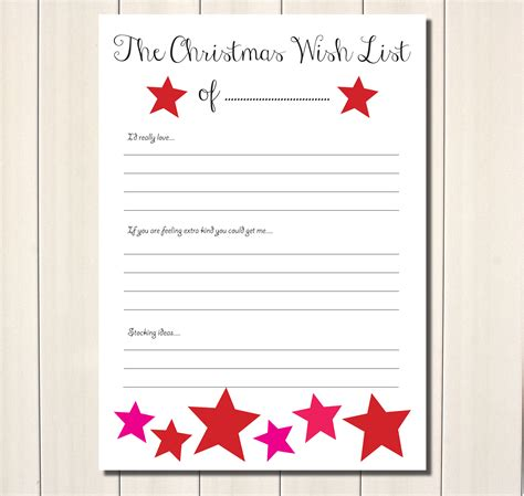 printable christmas list paper free printable christmas wish list a little bright