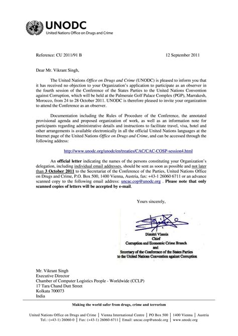 International Conference Invitation Letter Invitation To The Conference Of States To The United Nations Convention Against