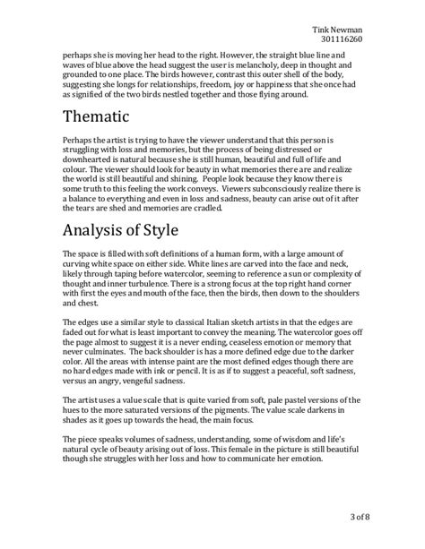 Style Analysis Essay by Artist Style Analysis