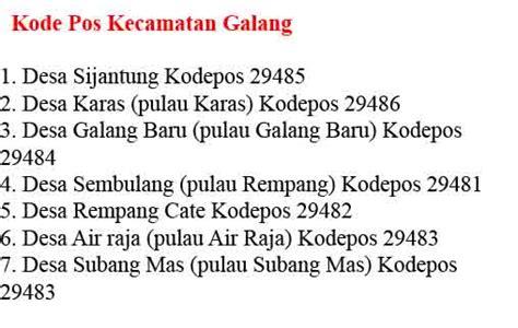 kode pos batam indonesia kecamatan kelurahan terlengkap tambelancom