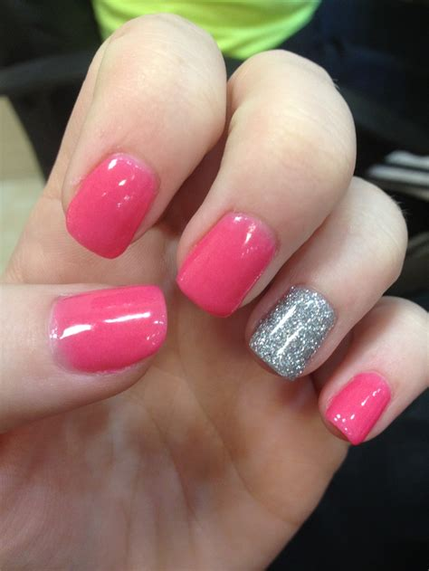 Pink Nail by Pink Nails With A Glitter Accent Hair Nails And