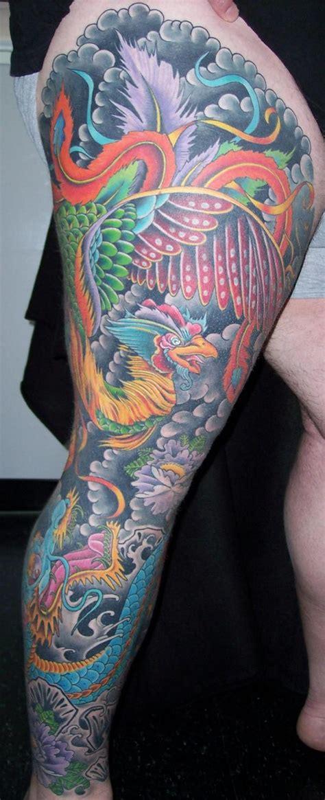dragon tattoo leg sleeve phoenix and dragon full leg sleeve by mark thompson