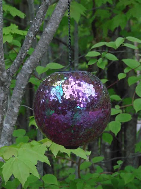 solar hanging gazing ball multi mosaic mondus garden decor