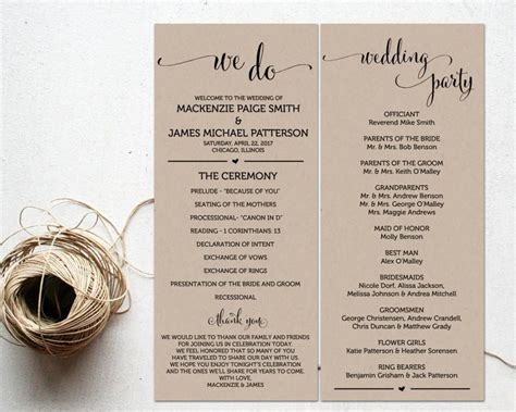 ceremony programs wedding program template ceremony
