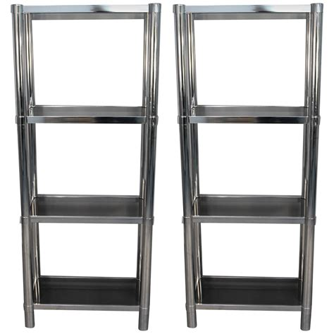 chrome bookshelves chrome tubular 201 tager 233 with smoked glass shelves for sale at 1stdibs