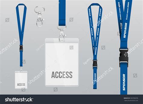 set lanyard badge metal piece plastic stock vector