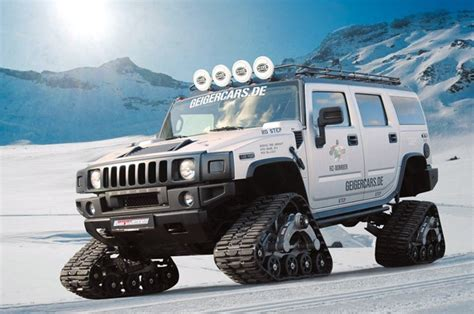 snow hummer geigercars hummer h2 bomber rolls out the snow tracks in