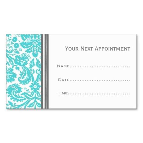 damask business card template free aqua grey damask salon appointment cards appointments