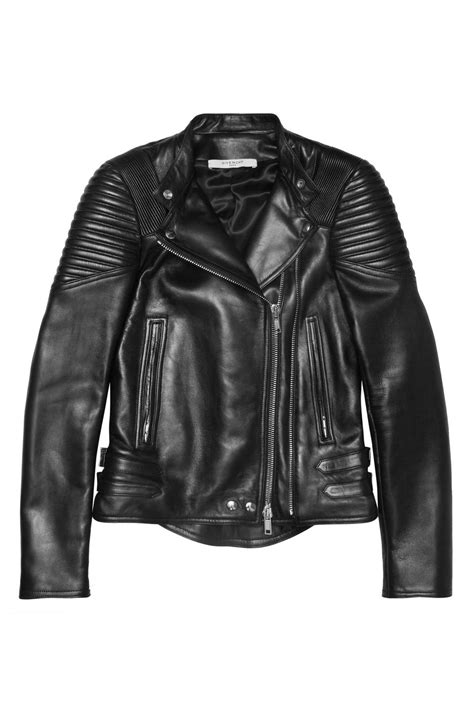 givenchy leather jacket givenchy black leather biker jacket with ribbed panels in black lyst