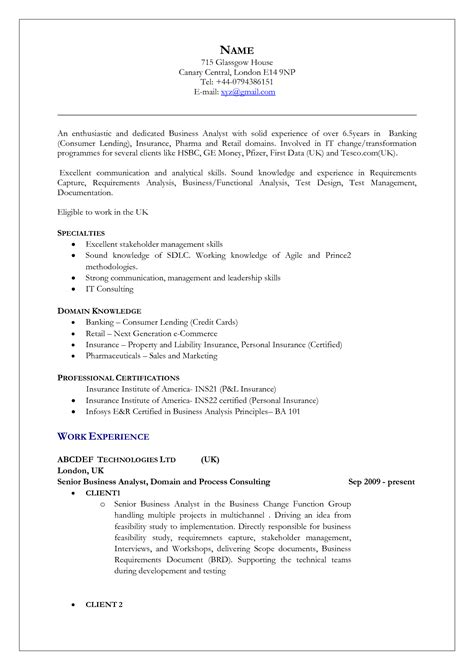 Resume Layout Sles by Uk Resume Format Free Excel Templates