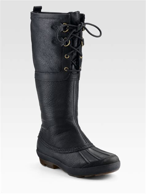 black ugg boots ugg belcloud laceup shearlinglined boots in black lyst