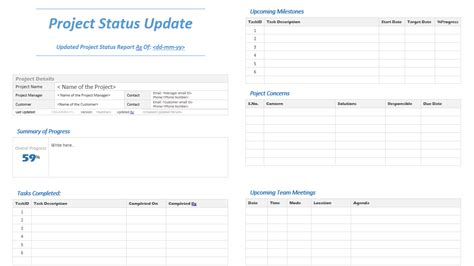 status update template project status update template analysistabs innovating