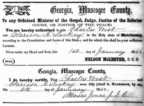 Muscogee County Marriage Records Steven Butler S Genealogy Website The West Family