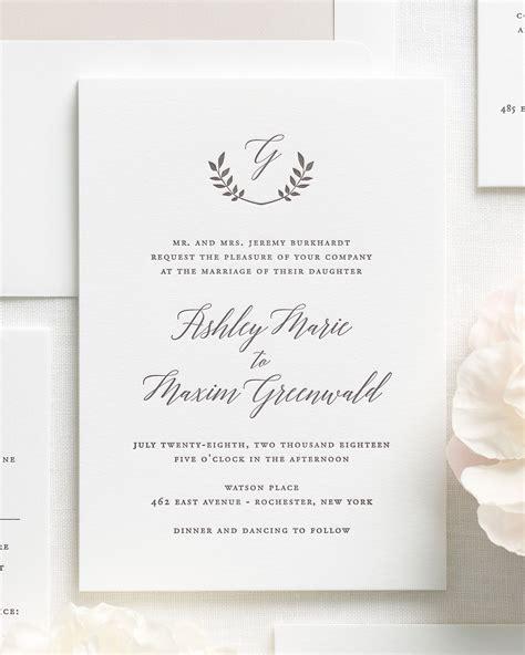 letterpress wedding invitations wales wreath monogram letterpress wedding invitations