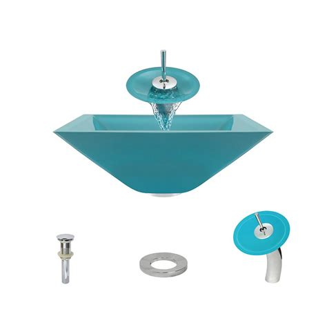 mr direct vessel sinks mr direct glass vessel in turquoise with waterfall