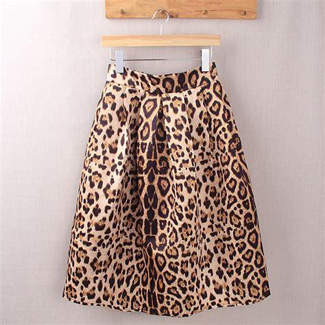 2016 leopard print high waist midi skirts summer