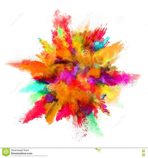 Explosion Of Colored Powder On White Background Stock ... Explosion White Background