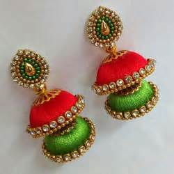 Red parrot green golden silk thread necklace set with earrings and