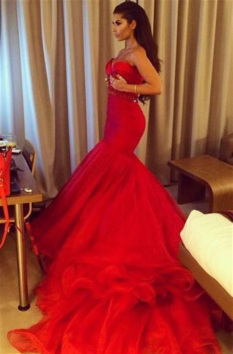 Red Mermaid Sweetheart Court Train Evening Dress Crystal
