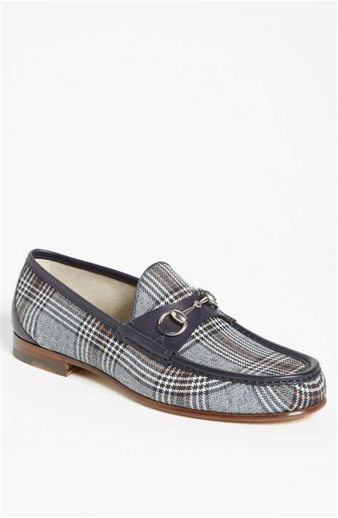 gucci roos bit loafer in gray for blue plaid lyst