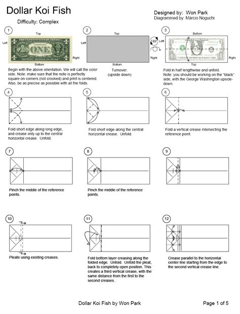 Dollar Bill Origami Koi Fish - dollar koi fish page1 money origami koi