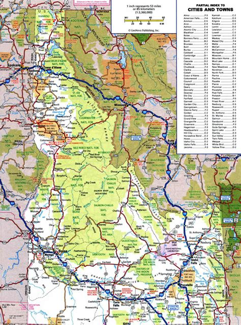 printable road map of idaho large detailed roads and highways map of idaho state with