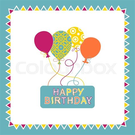 Birthday Card Vintage Template by Happy Birthday Card Design With Balloons Creative