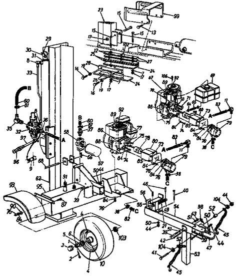 huskee log splitter parts diagram mtd log splitter parts model 244635000 sears partsdirect