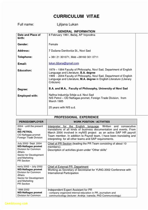 Curriculum Vitae Fill In The Blanks by 4 Blank Cv Template To Fill In Free Sles Exles
