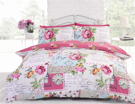 patchwork shabby chic duvet cover reversible bedding quilt set french pink blue ebay